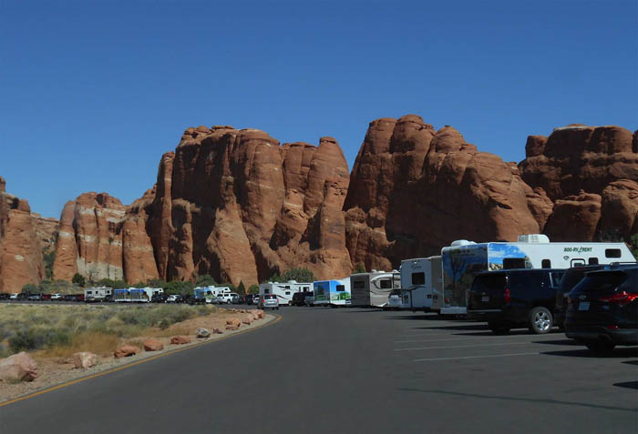 The Devils Garden Parking Lot at Arches National Park. Photo by Jim Stiles