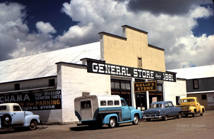 Downtown Chama, New Mexico. Late 50's. Photo by Herb Ringer