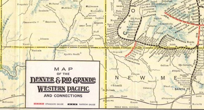 Map of the Denver & Rio Grande Lines in 1930. c/o Wikimedia Commons