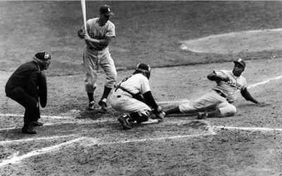 "Jackie Robinson ""Steals Home"" in Game 1 of the 1955 World Series. AP Photo"