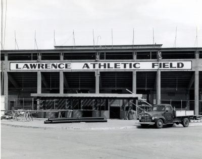 "The ""Lawrence"" Stadium before the death of Wichita Sportswriter Raymond ""Hap"" Dumont, who founded the National Baseball Congress at this field in 1935. c/o The Wichita Public Library Photograph Collection."