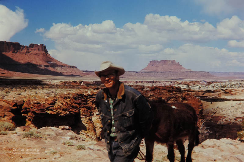 """MR PETE STEELE. """"Cowboy Extraordinaire"""". (Ekker Butte visible in the distance.)  MAY 1970. Photo by Edna Fridley"""