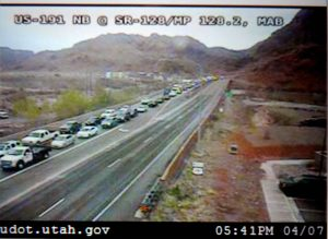 Traffic backed up miles to get into Arches National Park in Moab.