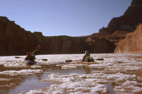 First Christmas in Glen Canyon with ice floes
