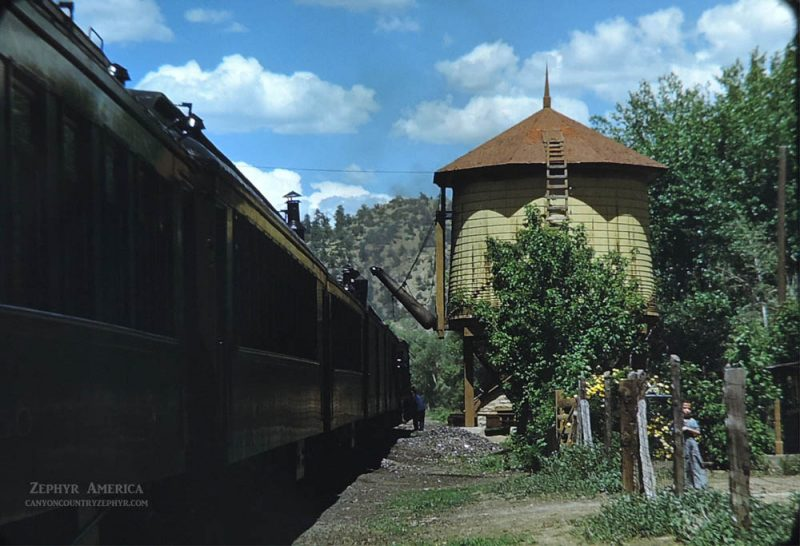 Roses along the Water Tower and Section House at Gato. 1948. Photo by Herb Ringer