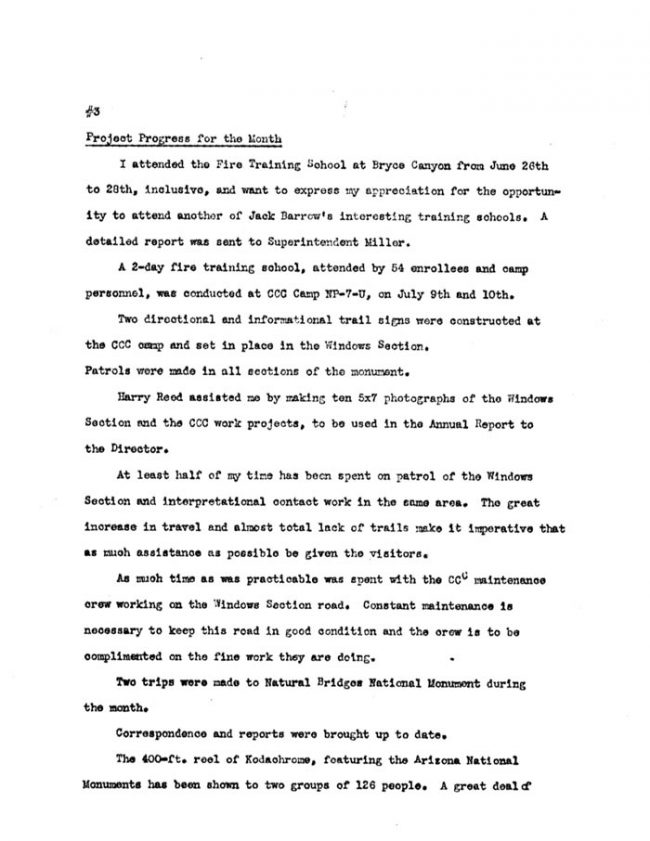 Arches Monthly Report July 1941 page 3