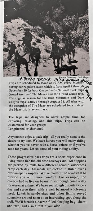 Pete Steele's 1975 Horsehead Pack Trip Brochure.  Provided by Becky Brock