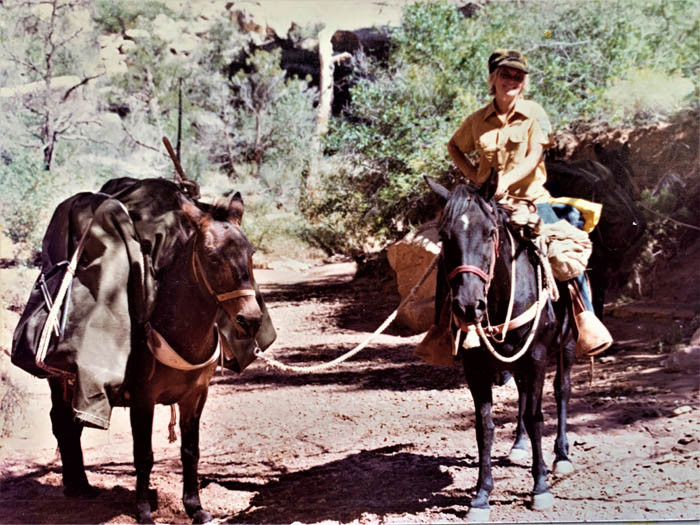 Becky Brock on Dandy with Pete's mule, Enid; May 1975 Grand Gulch. BLM photo