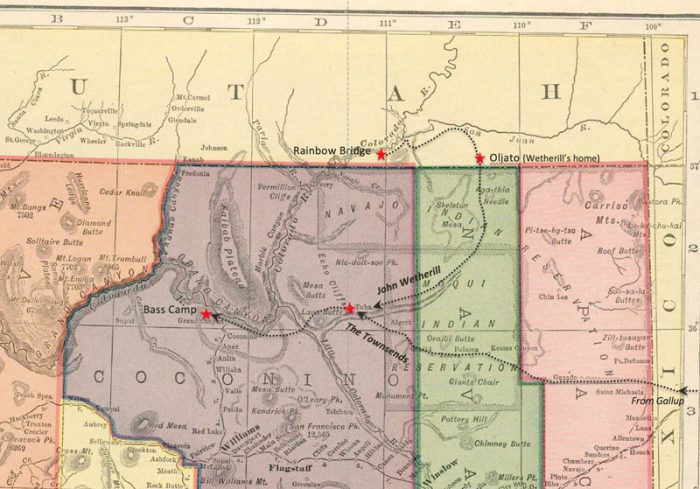The Townsends met their guide, John Wetherill, at Tuba City, Arizona, and proceeded west to the Grand Canyon. After exploring the canyon, they continued on to Navajo National Monument, Wetherill's trading post at Oljato, Utah, and Rainbow Natural Bridge.