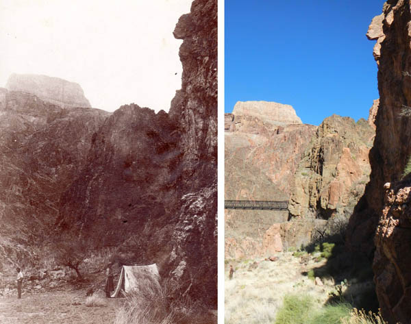 John Wetherill and Eleanor Townsend at the foot of what is now the South Kaibab Trail in the Grand Canyon. The modern photo from the same vantage point shows the Black Bridge across the Colorado River.