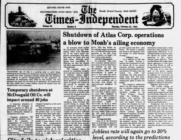 Times Independent cover page February 23, 1984