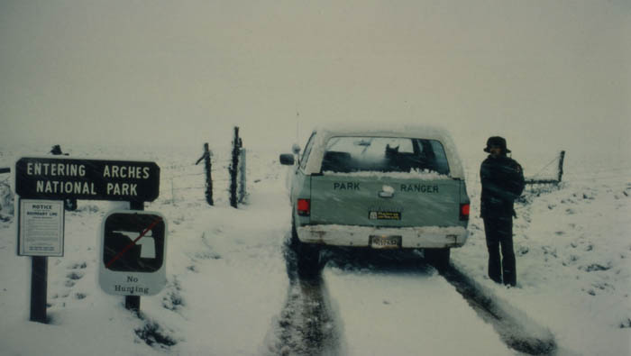 Arches in the Winter of 1982. Muckluk riding shotgun... photo by Jim Stiles