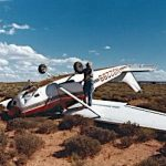A print from Tom Arnold of his Sept. 4, 1985 emergency landing about five miles north of the Hans Flat Ranger Station near the Maze. The engine failed while Tom was on his way to pick up some river trip passenger.