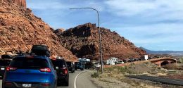 A normal day of traffic on US 191 outside Moab